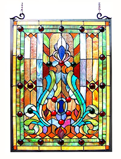 6ad6a8fec84 Amazon.com  Chloe Lighting Stained Glass Victorian Window Panel 18X24  Home    Kitchen