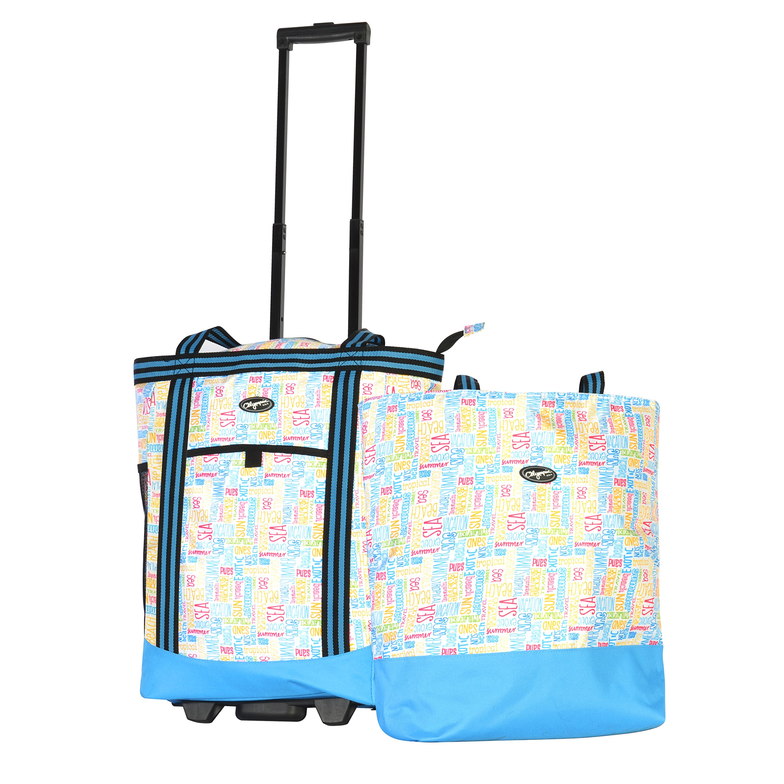 Olympia 2-Piece Rolling Shopper Tote and Cooler Bag, Summer Words