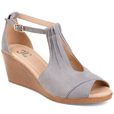 61b8df4e0b8 Journee Collection Womens Comfort Sole Ankle Strap Wedges Grey