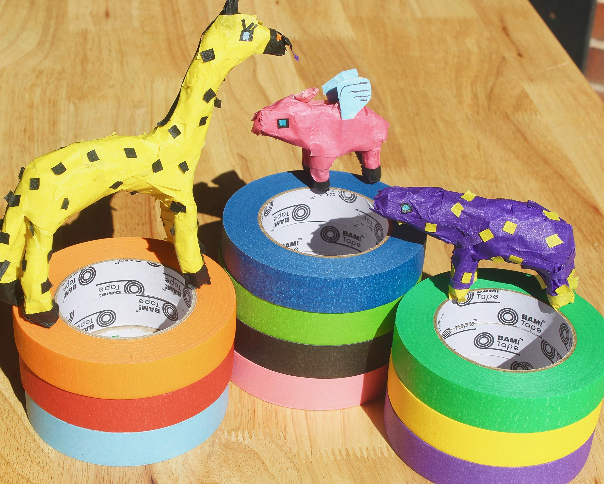 BAM! Tape Dispenser and Colored Masking Tape 1 inch x 60 Yards x 10 Rolls | Craft Tape Dispenser with Tape Cutting Edge | Arts and Crafts Teacher Supplies | School Supplies Craft Kit Art Supplies by BAM! Tape (Image #6)