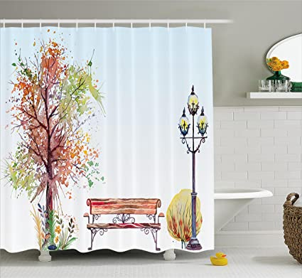 Ambesonne Farm House Decor Collection, Watercolors Fall Season  Representation With Splash Features Over Tree With
