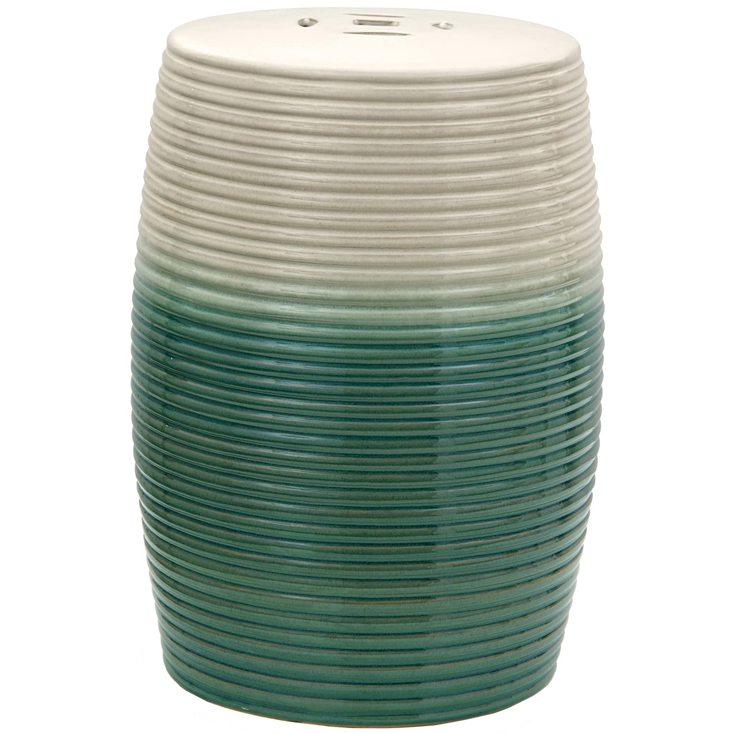 "Oriental Furniture 18"" Beige & Green Ribbed Porcelain Garden Stool"