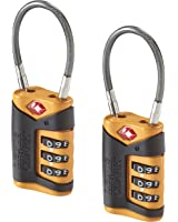 Lewis N. Clark TSA-Approved Combination Luggage Lock With Steel Cable (2-Pack)