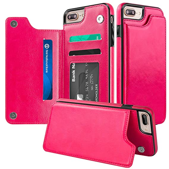 uk availability 10831 3f4d9 iPhone 7 Plus Wallet Case,iPhone 8 Plus Wallet Case,Protective iPhone 8  Plus Card Holder Case with Kickstand Credit Card Slot,Leather Cover Apple  ...