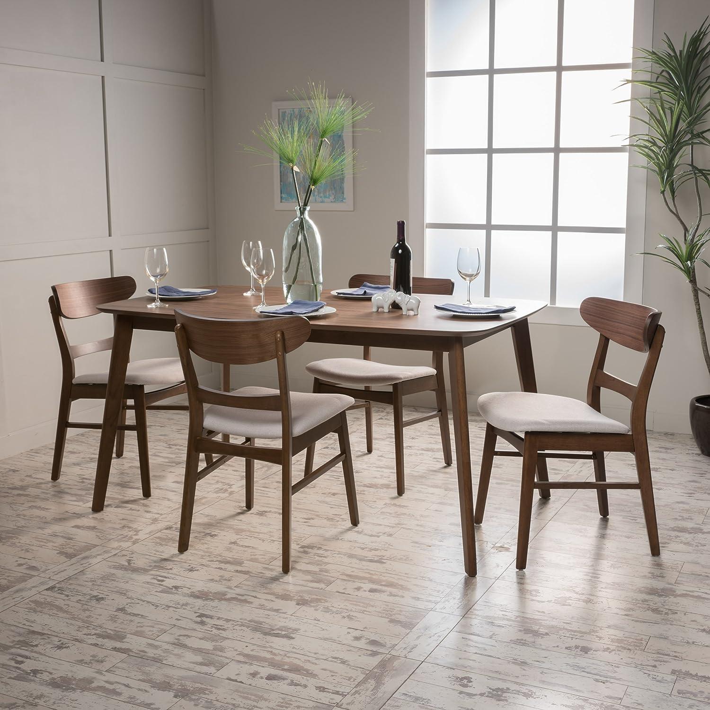 Helen | Mid Century Fabric & Wood 5 Piece Dining Set | in Walnut/Light Beige