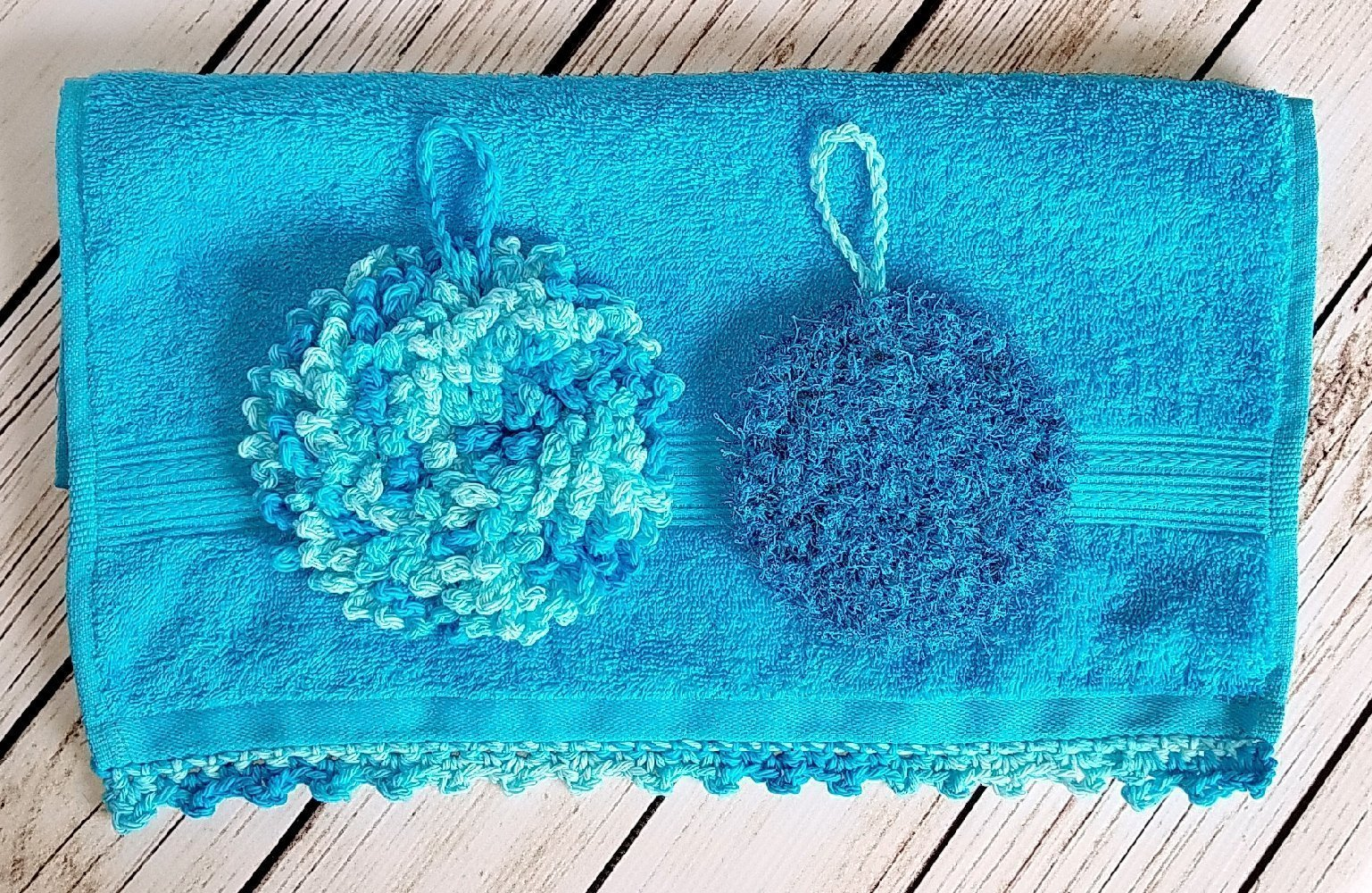 Invigorating yet gentle face and body poufs. Hand crocheted Caribbean colored spa or bath set. by Cloud 9 Crochet