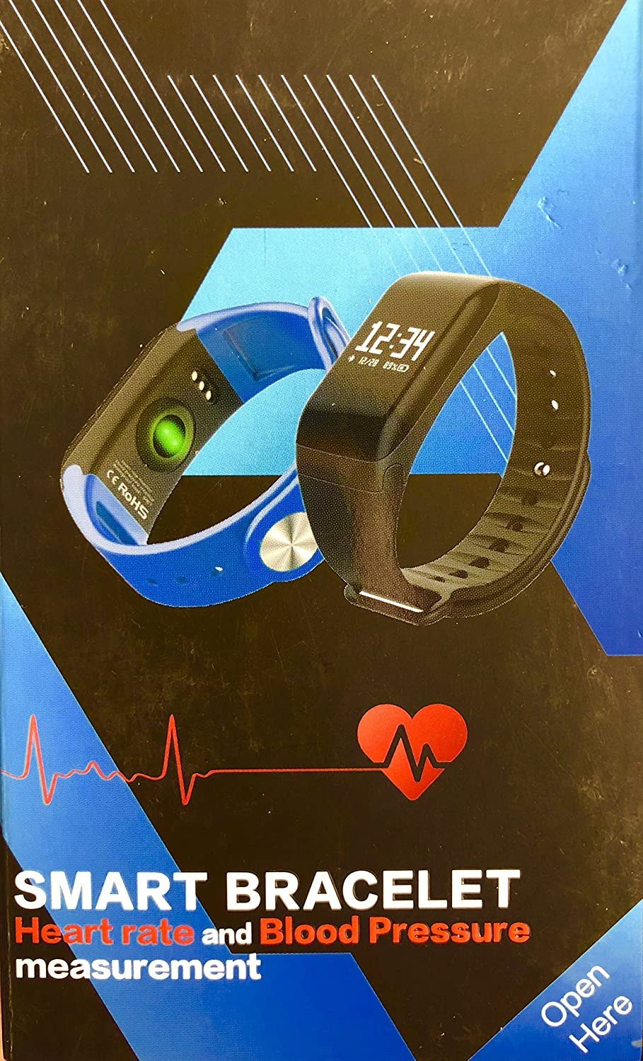 Smart - Pulsera deportiva - Heart Rate and Blood Pressure (negro)