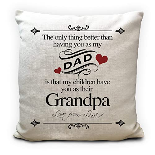 PERSONALISED FATHERS DAY CUSHION COVER CUDDLE GIFT PRESENT DAD GRANDAD PILLOW