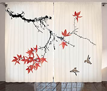 Amazon.com: Japanese Curtains by Ambesonne, Cherry Blossom Sakura ...