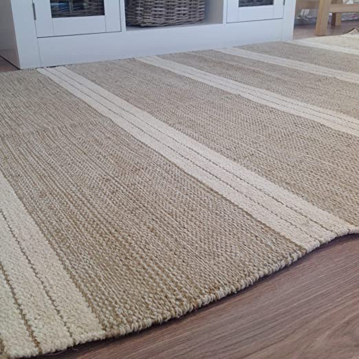 Alfombra de rayas fabricada con algodón natural y yute, 90 x 150 cm, color beige claro.: Amazon.es: Hogar