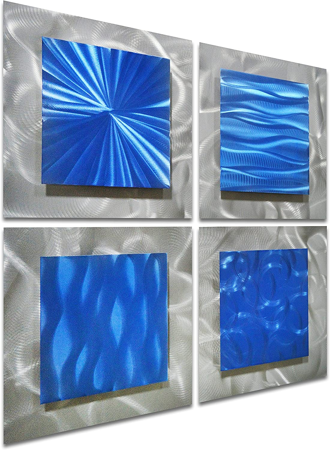 "Pure Art Scent of Freedom - Small Blue Abstract Metal Wall Art Decor - Modern Artwork of 4 Panels - Hanging Sculpture of 25"" x 25"" for Kitchen or Bedroom"
