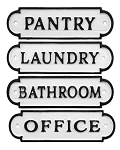 "AuldHome Farmhouse Decor Metal Signs, Set of 4 Decorative Cast Iron Door Room Plaques with ""Pantry"", ""Office"", ""Bathroom"" and ""Laundry"""
