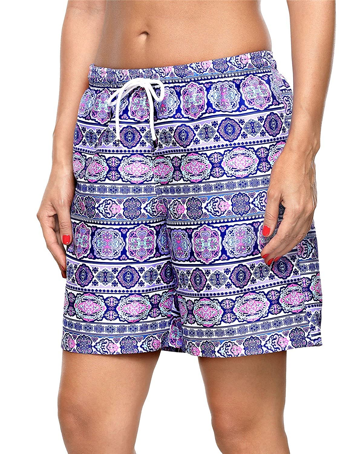 ALove Womens Solid Stretch Board Shorts Swimwear Quick Dry Swim Shorts Swimsuit Bottom