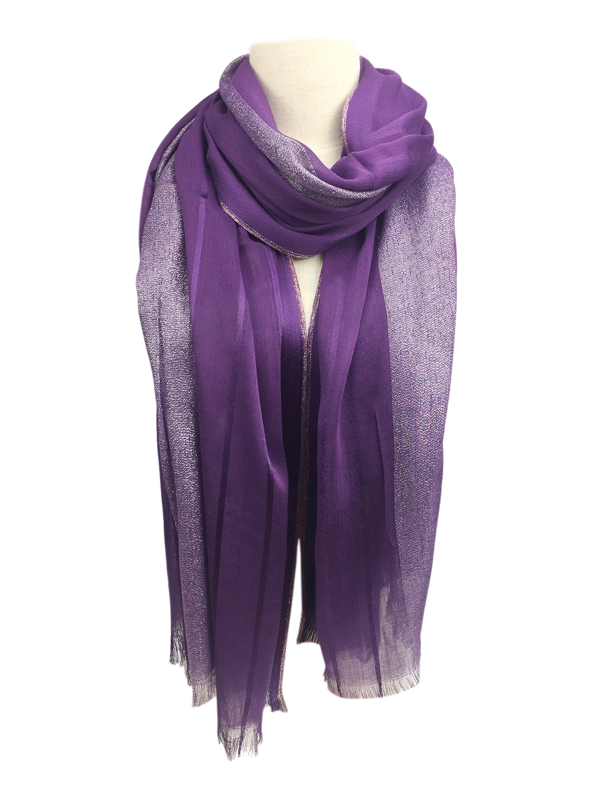 YOUR SMILE Women's Lightweight Glitter Color mixture Print Shawl Scarf For Spring Season (Purple)