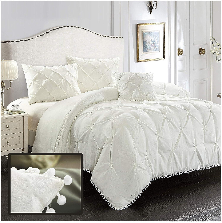 EVOLIVE 4pc Set Pinch Pleat/Kiss Pleat, Pintuck Down Alternative Comforter Set with Pompom (King, Cream)