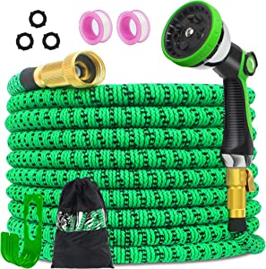 Expandable Water Hose, Flexible Garden Hose with 10 Function Spray Nozzle&3/4