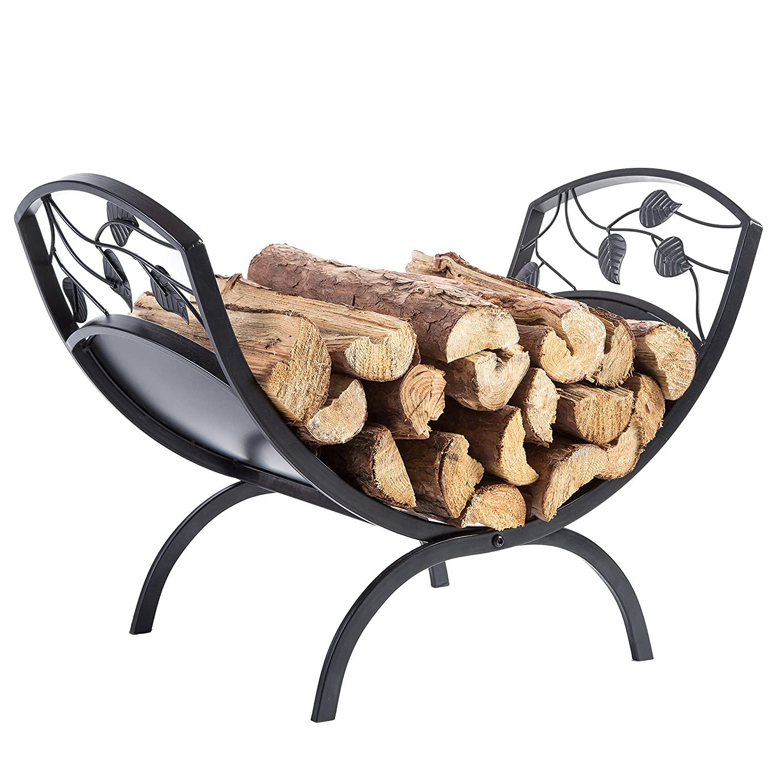 Decorative Metal Leaf & Vine Design Hearthside Firewood Log Storage Rack Holder MyGift