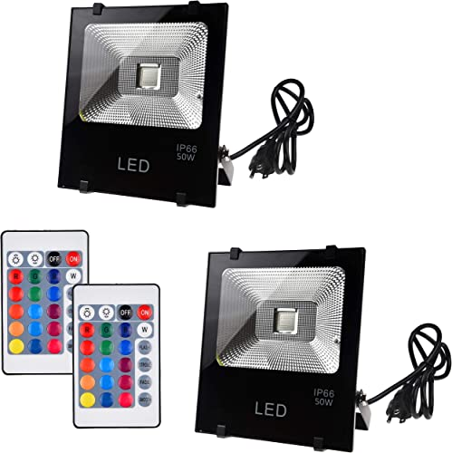 Telaso 2 Pack 50W RGB LED Flood Light with Remote Control, IP66 Waterproof Dimmable 16 Colors Changing 4 Lighting Modes, Wall Light US 3-Plug for Garage Garden Lawn Backyard Pond