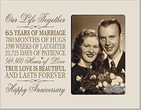 Amazon Com Lifesong Milestones 65th Year Wedding For Her Him Couple 65 Year Wedding For Parents Celebration Gift Picture Frame Holds 4x6 Photo 8 H X 10 W Ivory