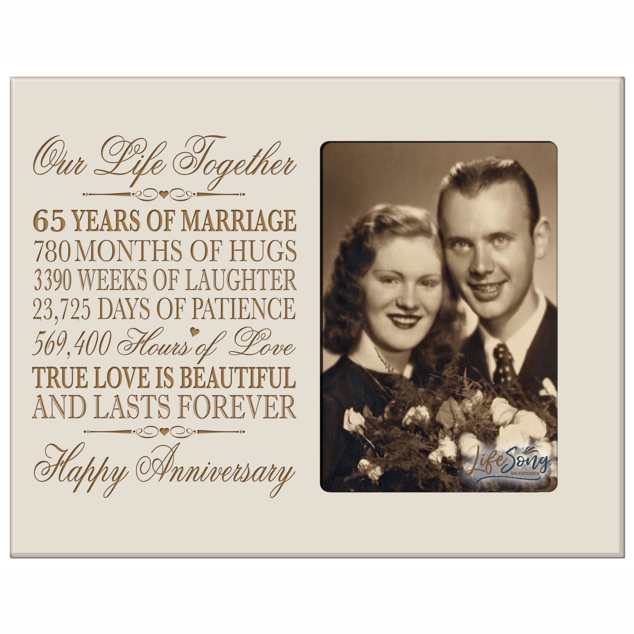 LifeSong Milestones 65th Year Wedding for her him Couple 65 Year Wedding for Parents Celebration Gift Picture Frame Holds 4x6 Photo 8'' H X 10'' W (Ivory) by LifeSong Milestones (Image #1)