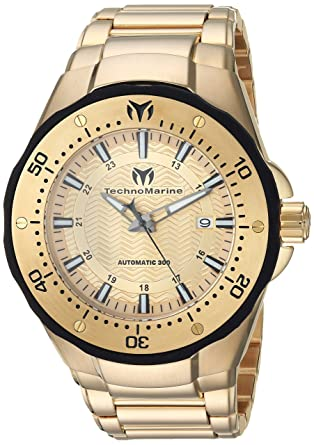 Technomarine Mens Manta Automatic Stainless Steel Casual Watch, Color:Gold-Toned