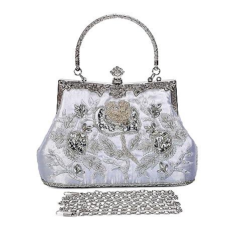 2e4f373963 BAIGIO Pochette Donna Elegante Argento, Clutch Cerimonia Vintage Borsetta  da Sera Raso Ricamata Borsa a