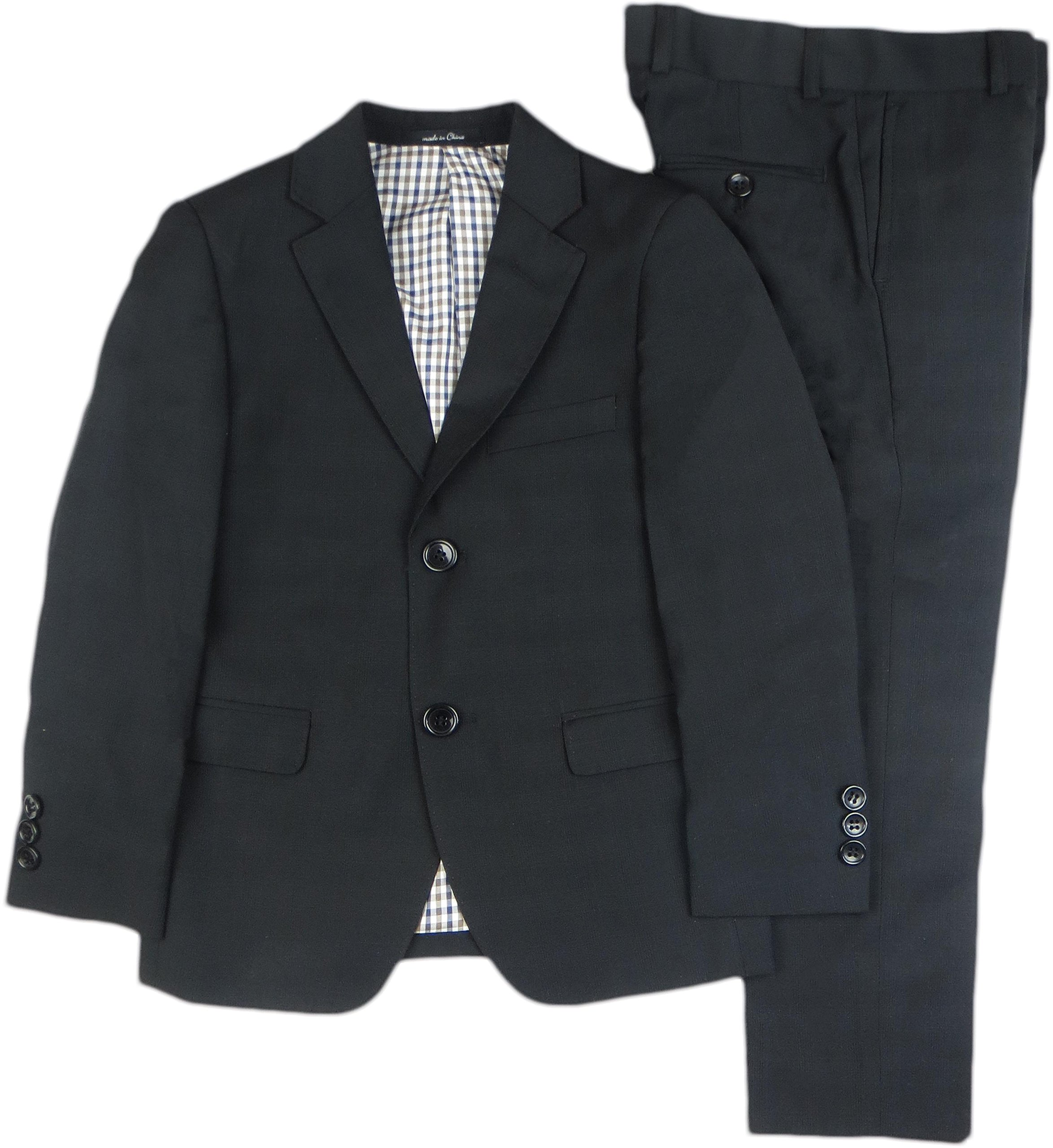 T.O. Collection Boys Black Suit (Slim, Regular & Husky Fit) - 1609-12 - Black, 6 Slim by T.O. Collection