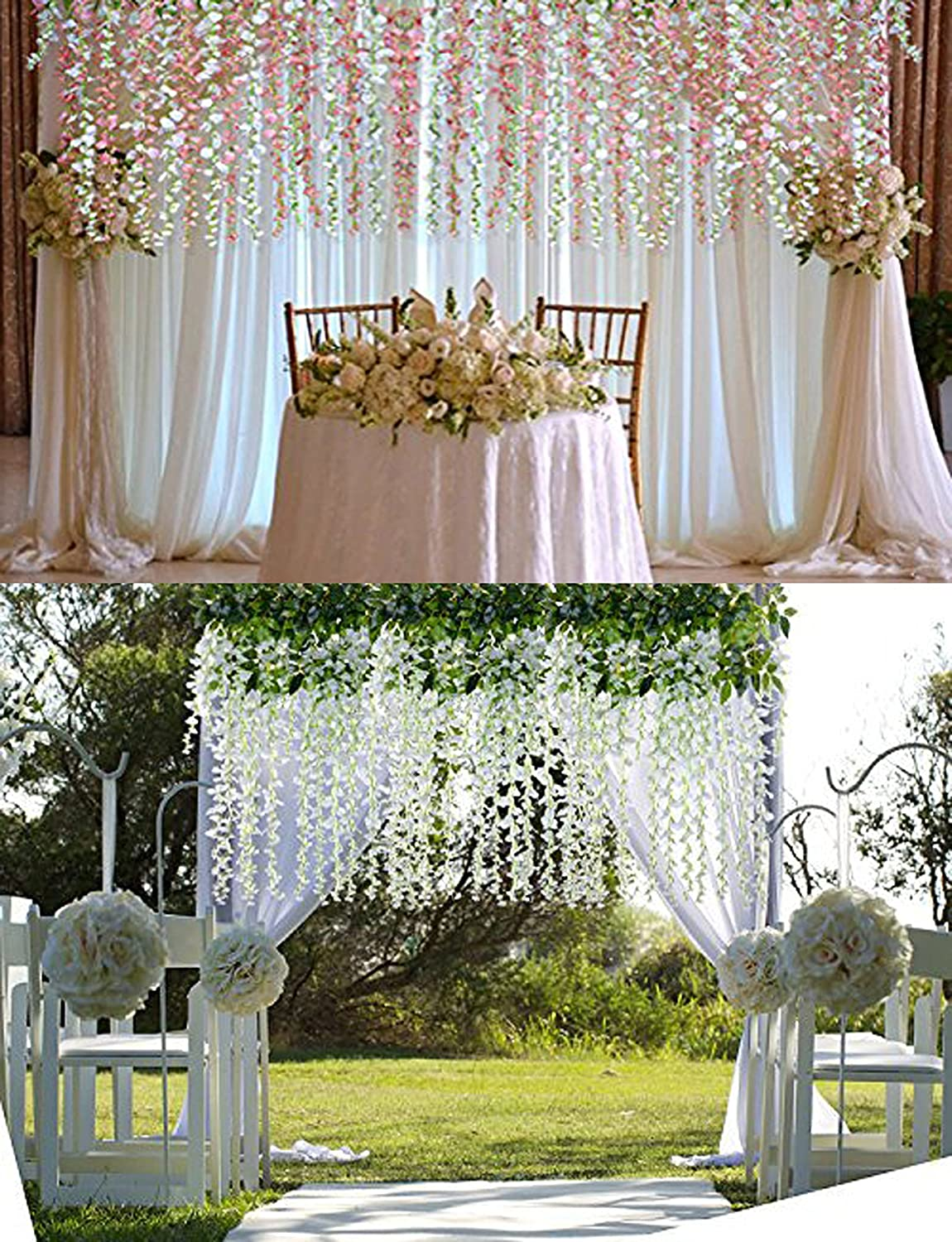 Wisteria Vine Garland Flower Artificial White Fake Hanging
