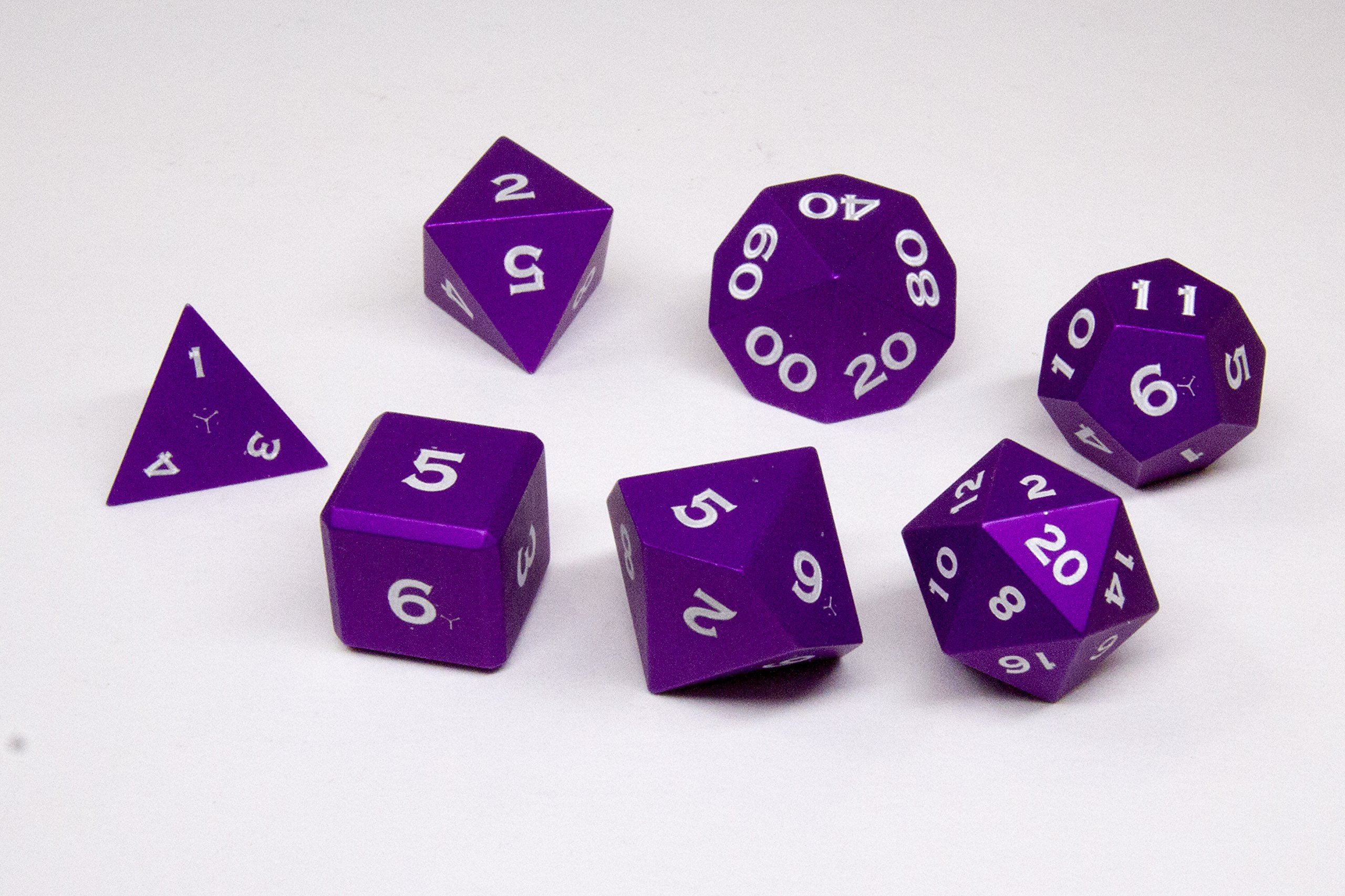 Gravity Dice 7 Metal Polyhedral Dice Set - Anodized Aluminum - World's Most Precise Gaming Dice (Purple)
