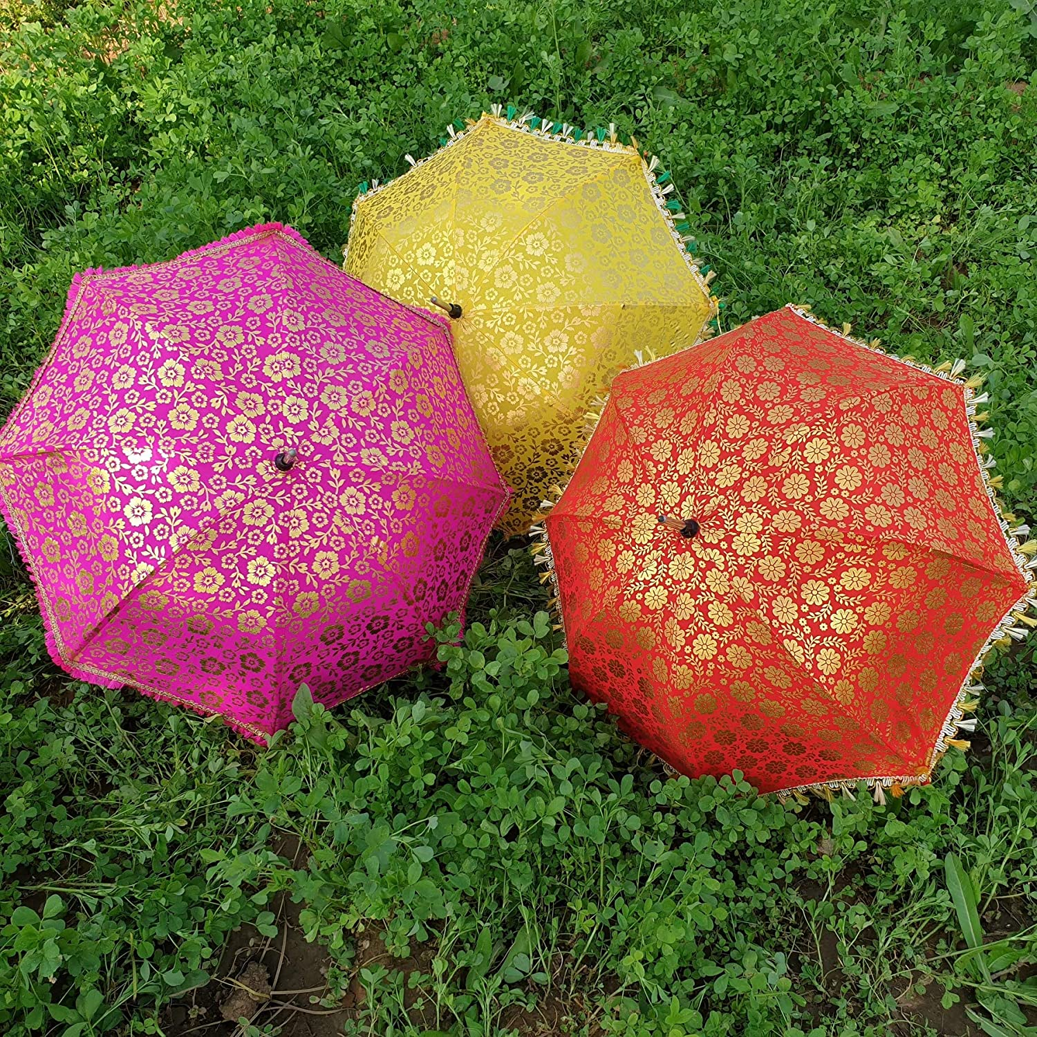 305d0d04fa6a Amazon.com: Worldoftextile 10 Pcs Mix Lot Indian Wedding Umbrella ...