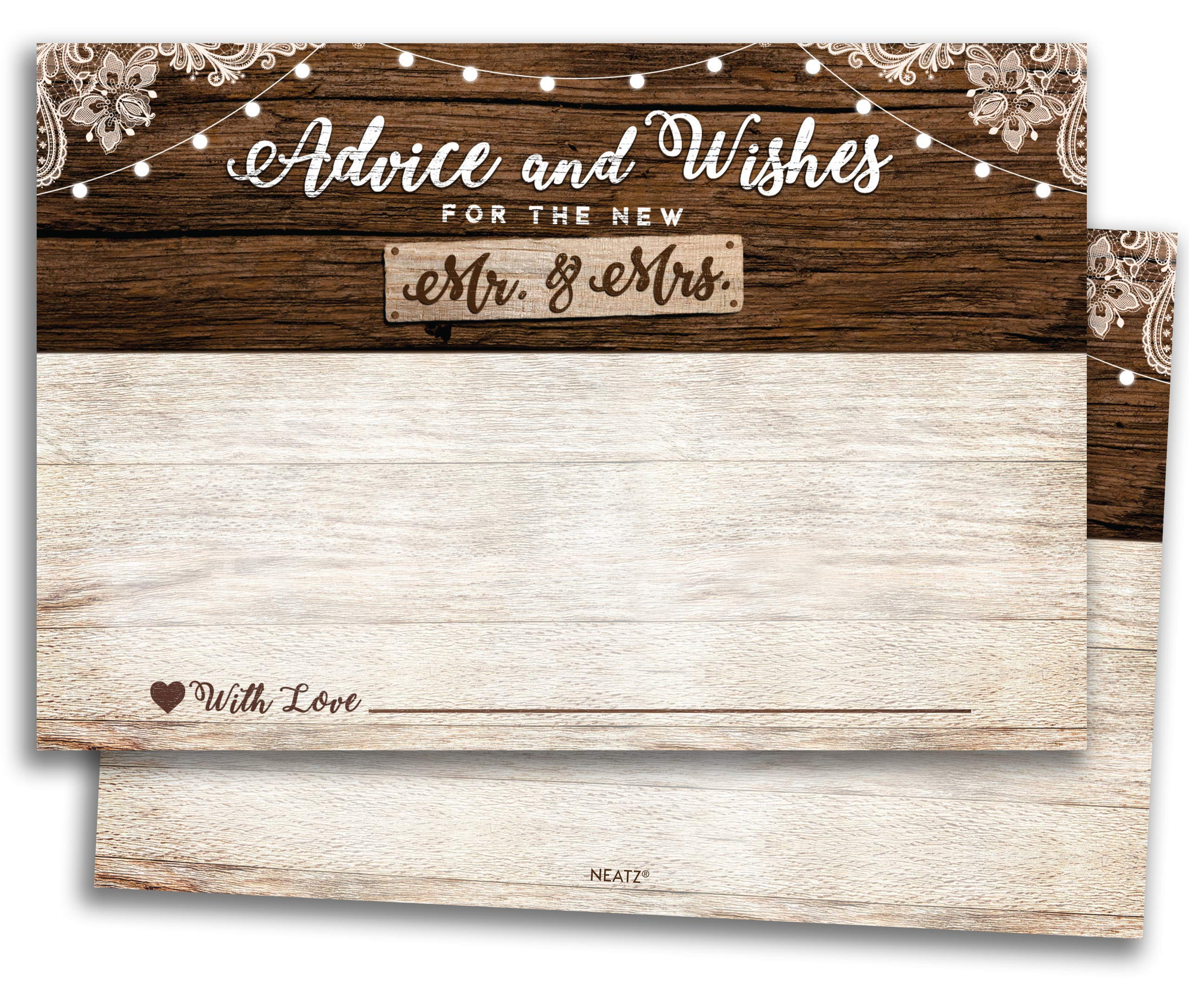 50 Rustic Wedding Advice Cards & Well Wishes for the Bride and Groom - Bridal Shower Games, Rustic Wedding Decorations, Bridal Shower Decorations