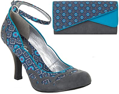 b9a0c75fe Ruby Shoo UK 9/42 Jenny Shoes & Sydney Bag Grey Turquoise Faux Suede Panel