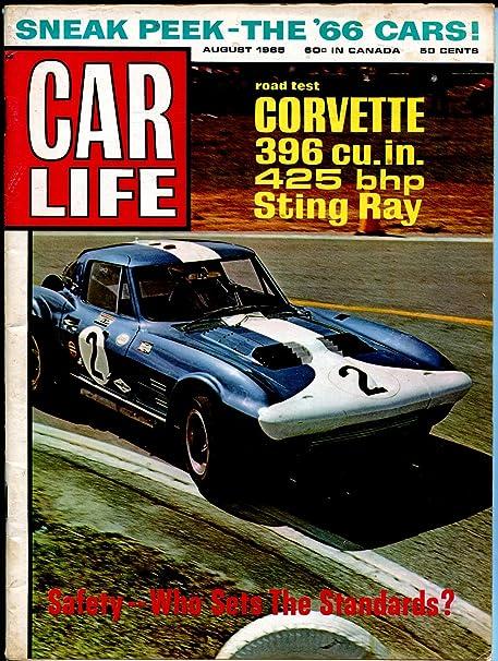 Car Life 8/1965 Corvette-Pontiac Bonneville-Stint Ray-1966 cars-FN
