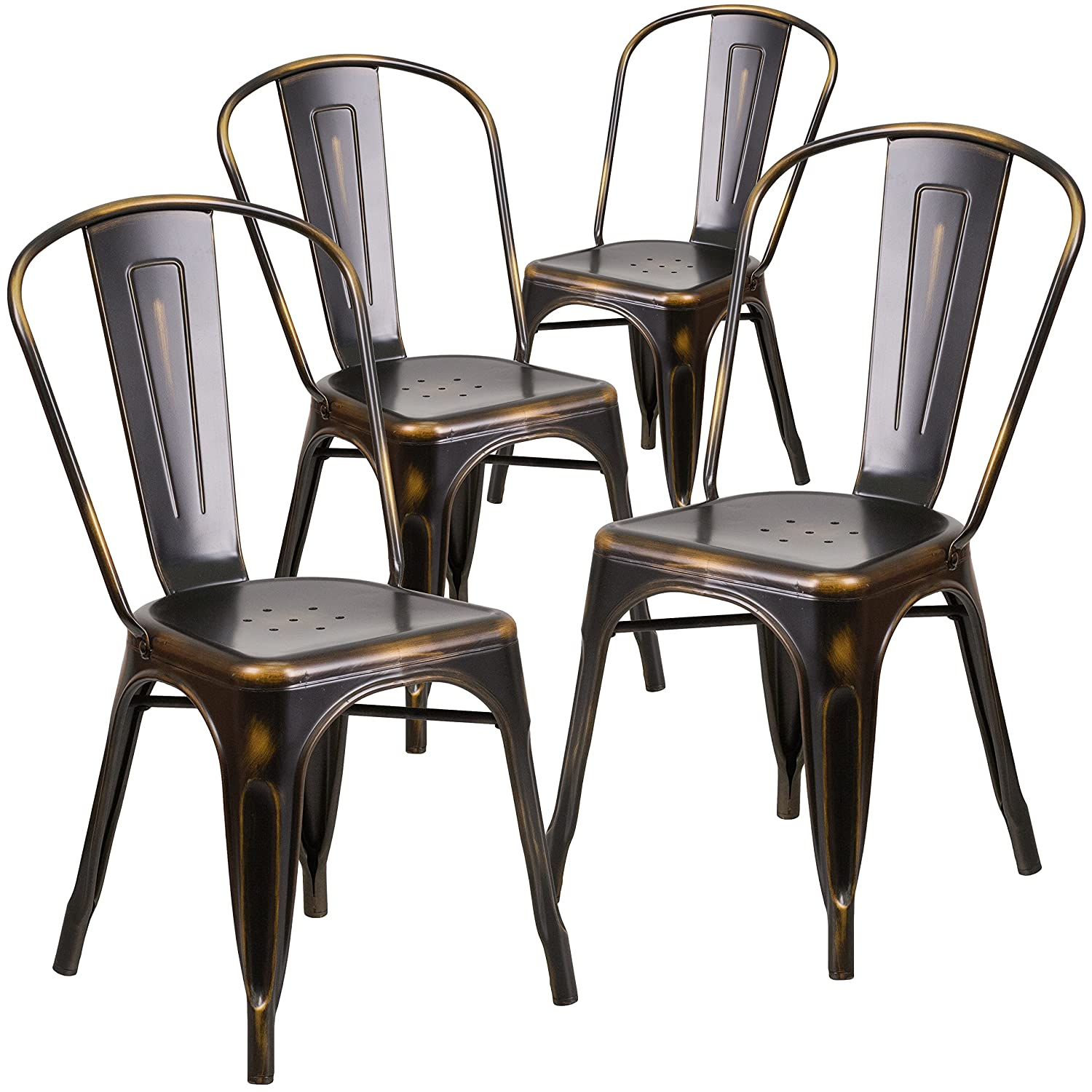 Metal outdoor stacking chairs - Amazon Com Flash Furniture 4 Pk Distressed Copper Metal Indoor Outdoor Stackable Chair Chairs