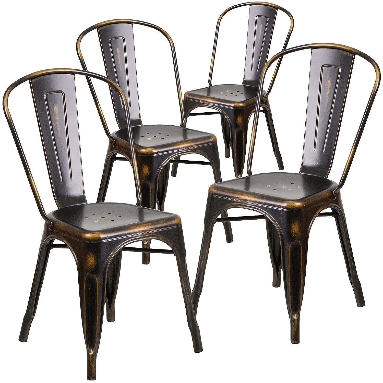 Amazon Flash Furniture 4 Pk Distressed Copper Metal Indoor