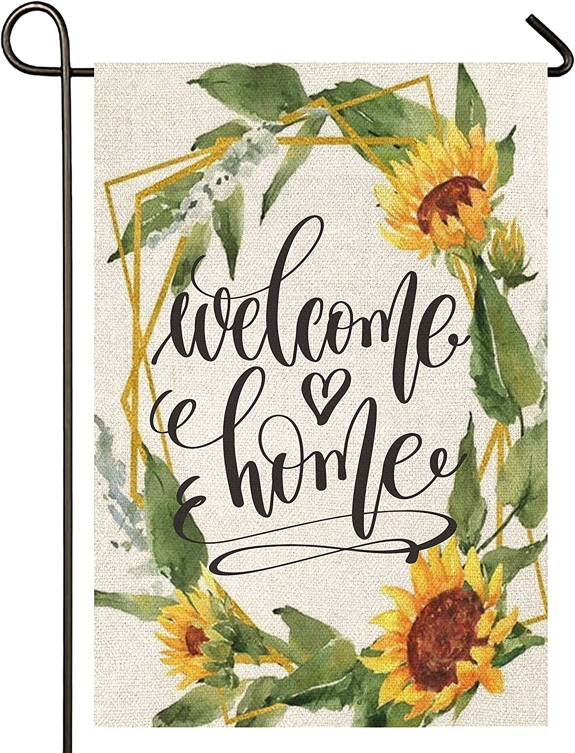 Atenia Welcome Home Sunflower Garden Burlap Flag, Double Sided Sunflower Wreath Welcome Sign Garden Outdoor Yard Flags for Summer Decor (Garden Size - 12.5X18)