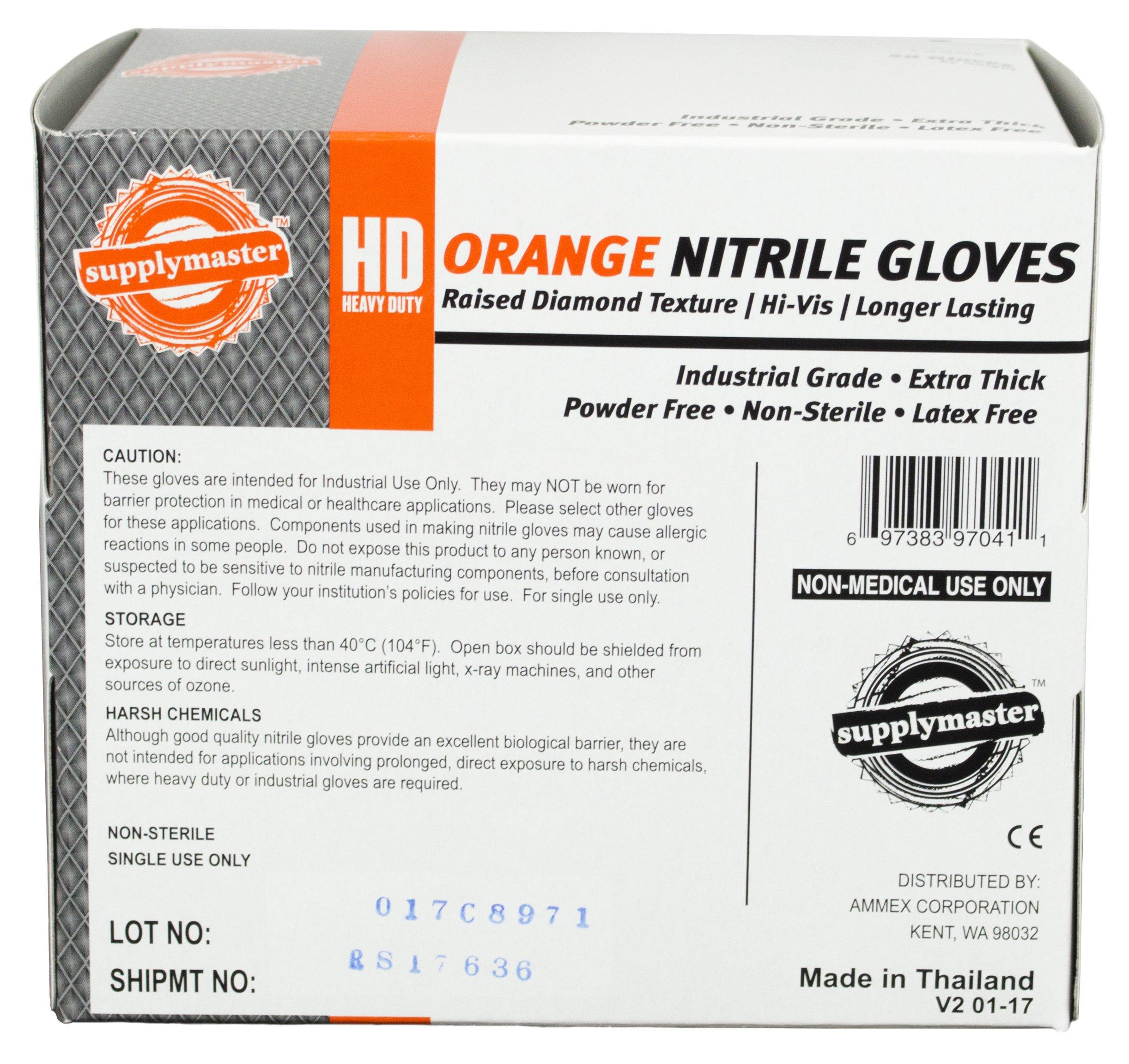 SupplyMaster - SMDTON8M - Diamond Texture Nitrile Gloves - Disposable, Powder Free, Industrial, 8 mil, Medium, Orange (Case of 200) by SupplyMaster (Image #3)