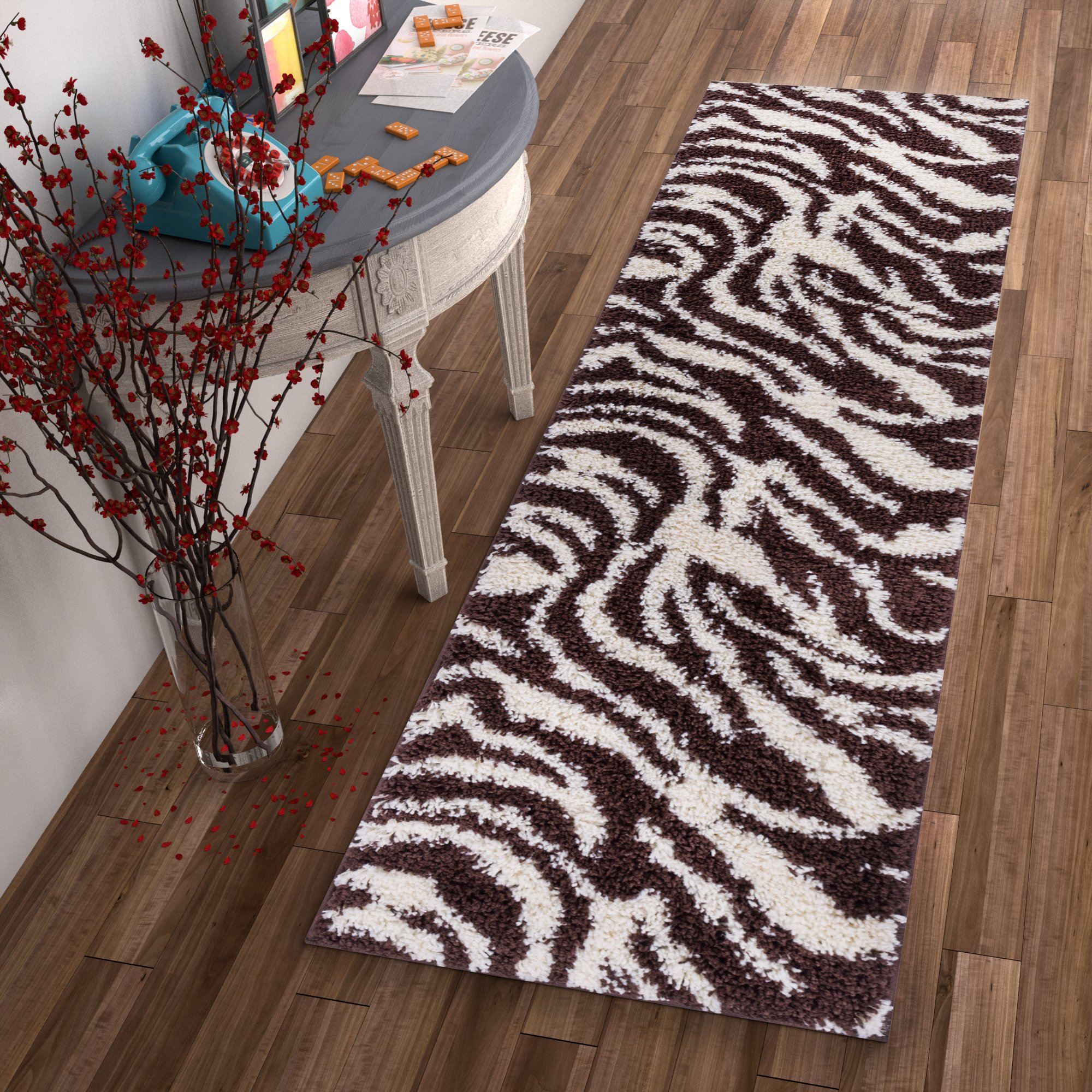 Modern Animal Print 2x7 ( 2'' x 7'3'' Runner ) Area Rug Shag Zebra Brown Ivory Plush Easy Care Thick Soft Plush Living Room