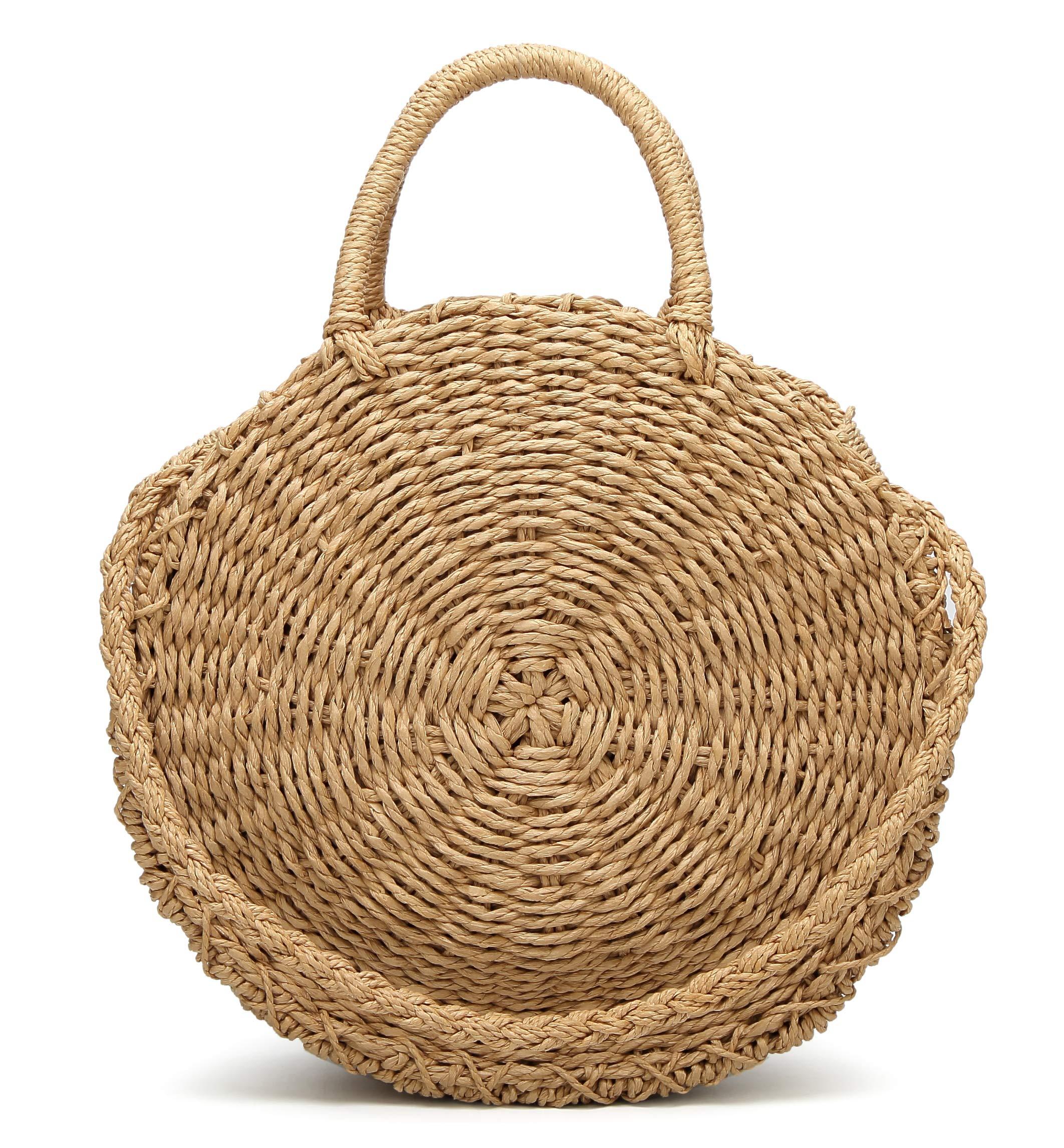 Obosoyo Straw Crossbody Bag Women Weave Shoulder Bag Round Summer Beach Sea Tote Handbags Lightbrown-Large