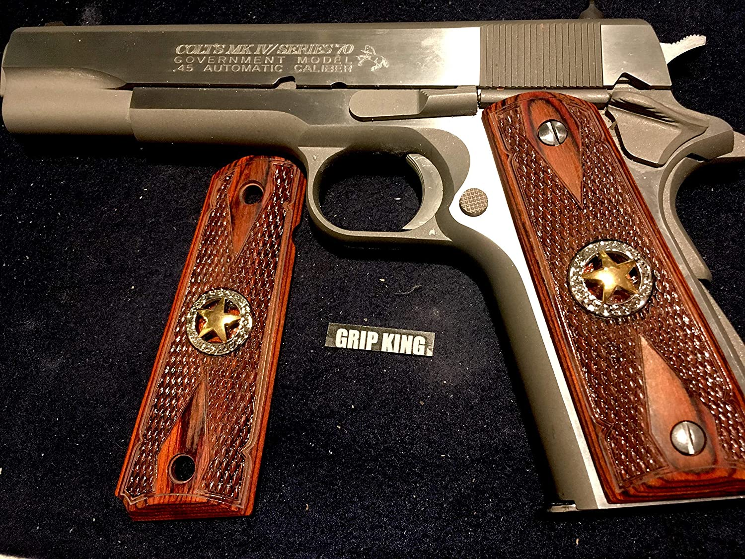 Original 1911 Colt 45 Government Ambi Cut Rosewood Double Diamond