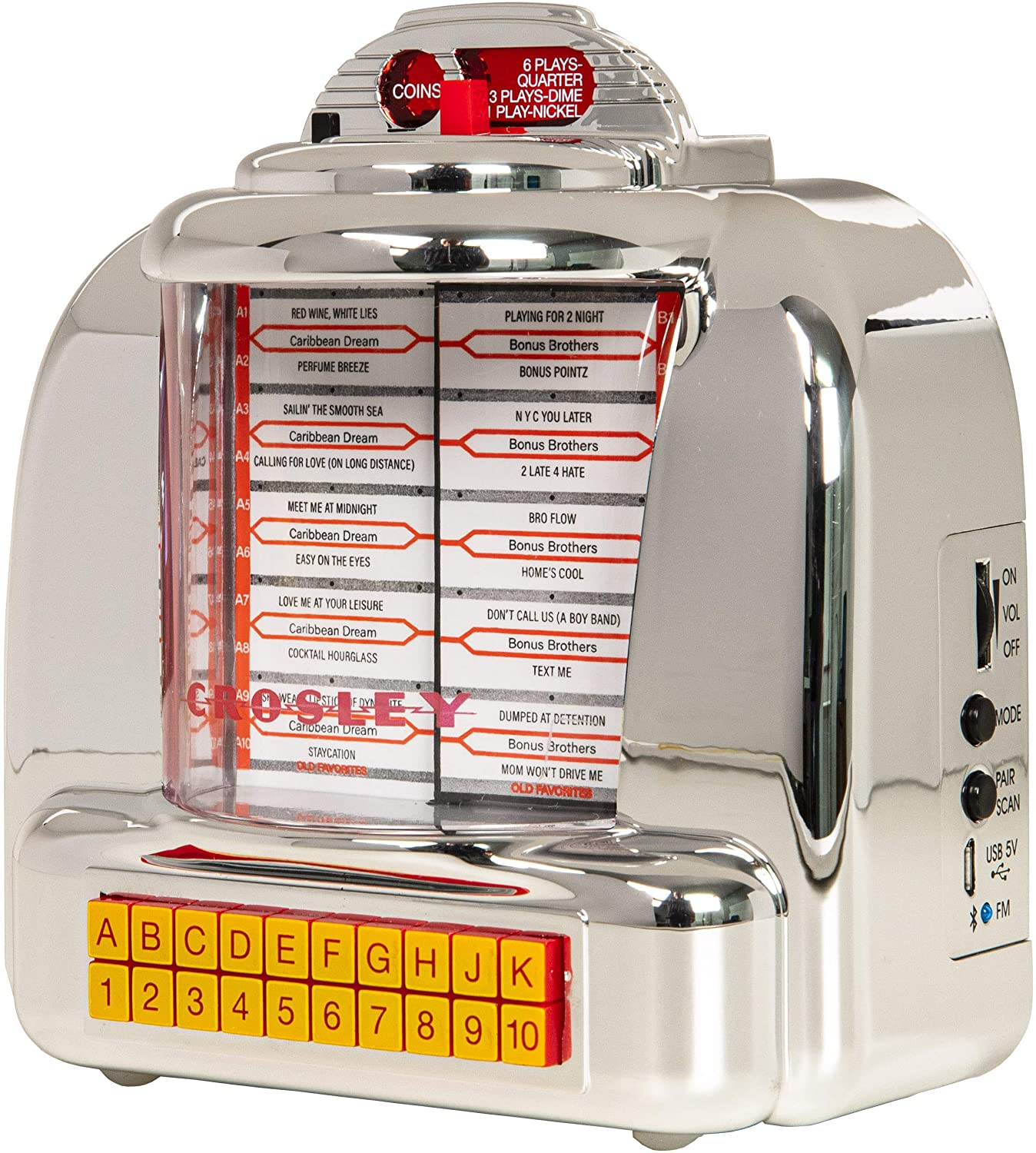 Crosley CR1120A-SI Diner Mini Jukebox Bluetooth Tabletop FM Radio