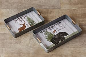 Your Heart's Delight Black Bear Cabin, Forest Lodge Tray, Multi-Color