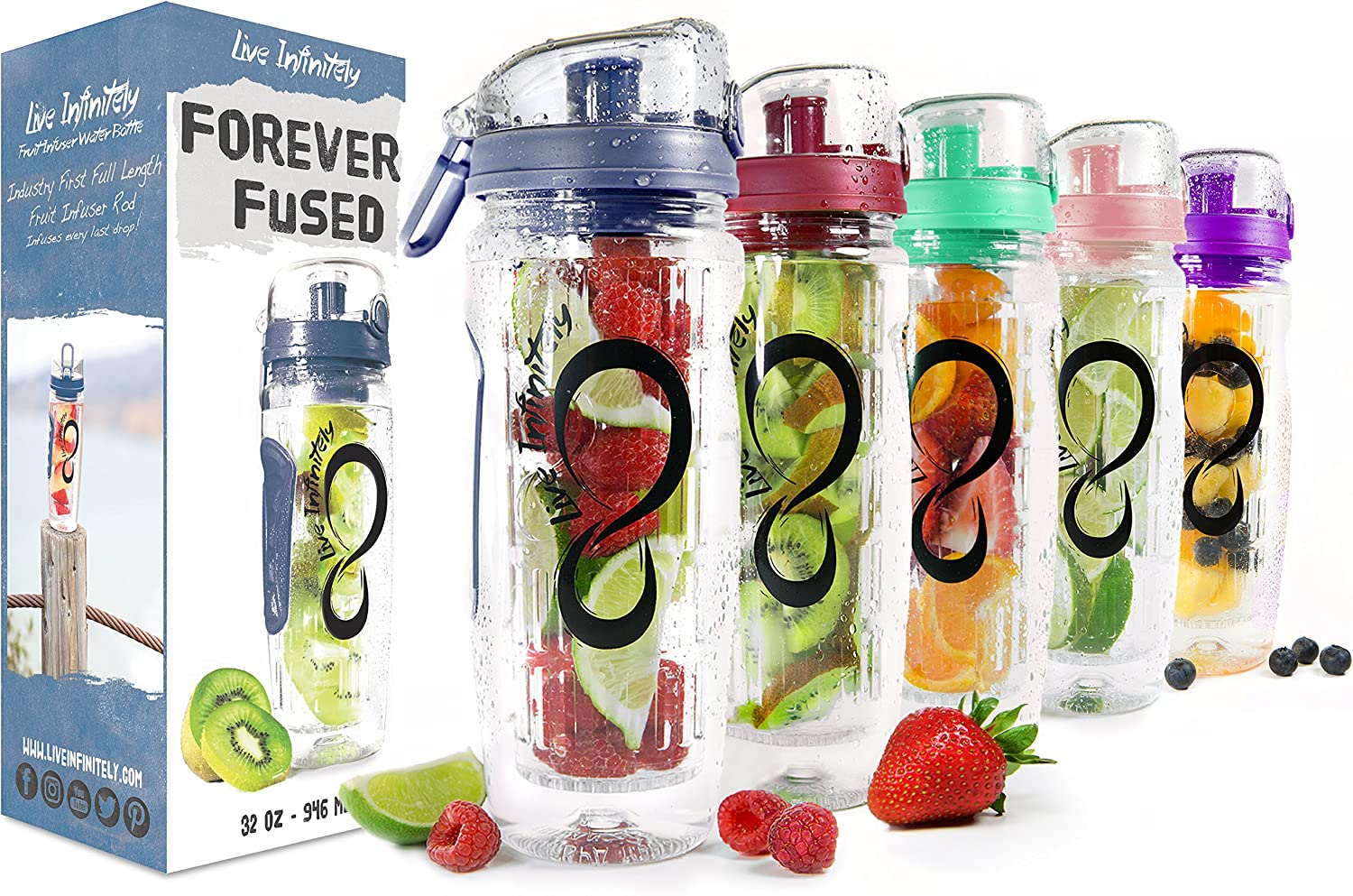 Live Infinitely 32 oz. Infuser Water Bottles - Featuring a Full Length Infusion Rod, Flip Top Lid, Dual Hand Grips & Recipe Ebook Gift (Navy Blue, 32 oz)