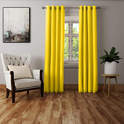 Buy Encasa Homes Door Window Curtain Plain Colour Sunbeam Yellow