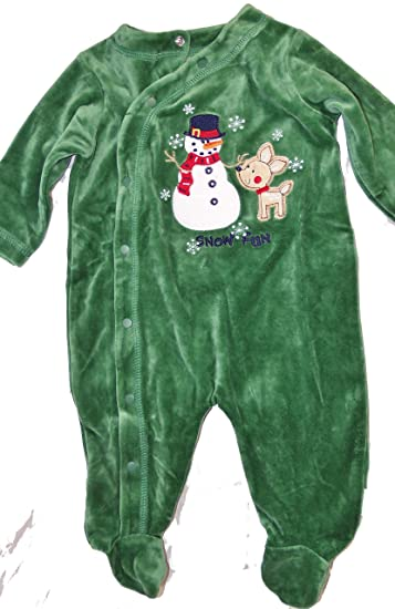 359ebcfe50 First Moments Baby Footed Frosty Snowman Pajama s Green Sleeper Christmas  Clothing (3-6 Month