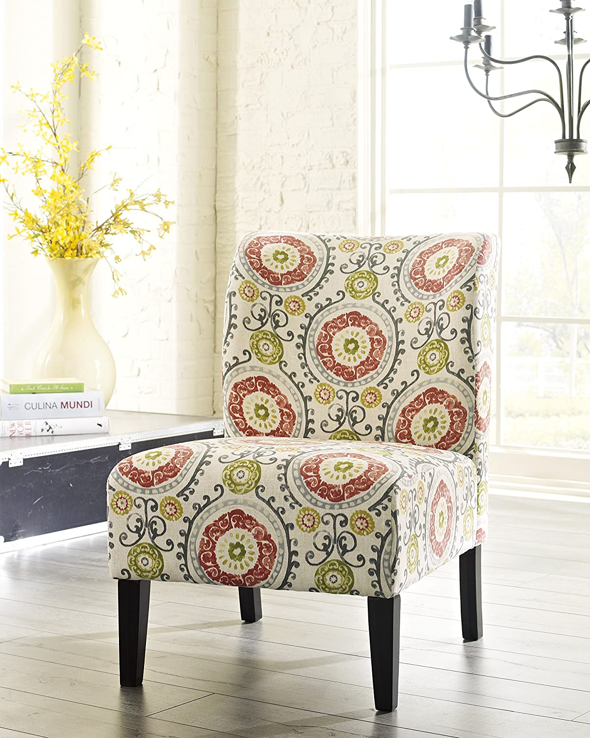 Amazon.com: Honnary Curve Back Fabric Accent Chair, Floral: Kitchen ...