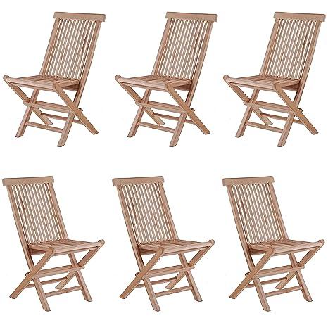 Silla de jardín silla plegable silla Modena Real teca ~ 6 ...