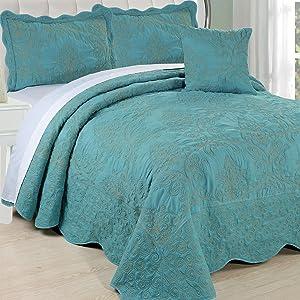 Serenta Damask 4 Piece Bedspread Set, King, Teal