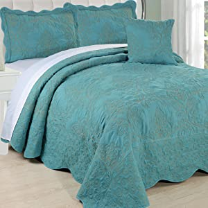 """Home Soft Things Damask Bedspread, Oversize Queen (110"""" x 120""""), Teal"""