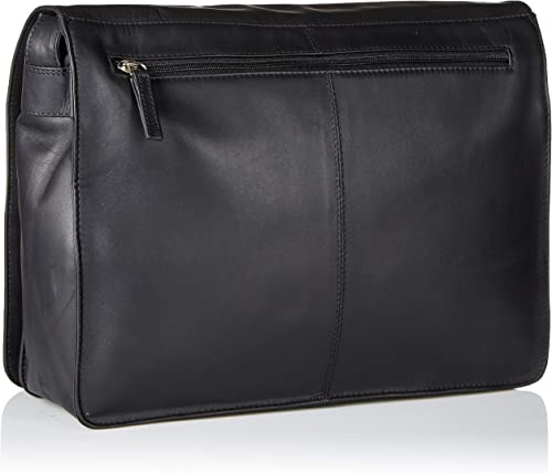 Visconti Womens Large Leather Flap-Over Shoulder Crossbody Messenger Bag, Black, One Size